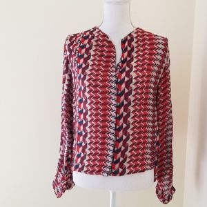 Parker Red/Blue Print Size S Silk Button Down Top